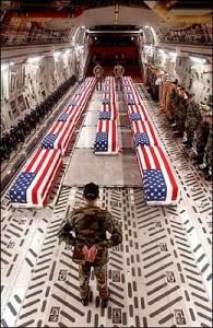 dead soldiers caskets on plane
